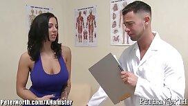 Latina Ella Knox menelan pelanggan untuk urut dia telanjang di atas kuda, awek jolok